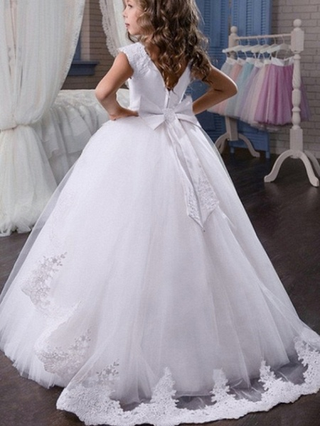 Princess / Ball Gown Sweep / Brush Train Wedding / Party Flower Girl Dresses - Satin / Tulle Sleeveless Jewel Neck With Sash / Ribbon / Bow(S) / Appliques_4