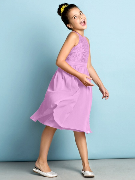 A-Line Jewel Neck Knee Length Chiffon / Lace Junior Bridesmaid Dress With Lace / Natural / Mini Me_23
