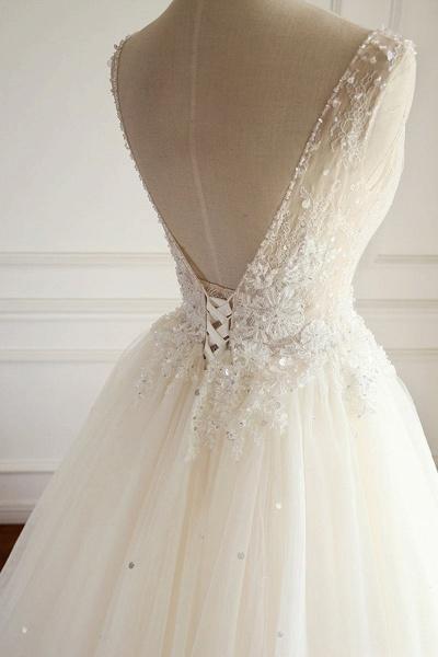 SD1964 V-neck Beads Backless Ball Gown Tulle Wedding Dress_3