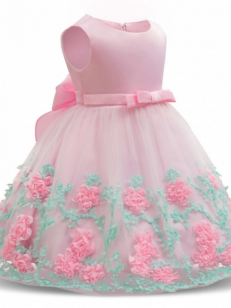 Princess Long Length Wedding / Party / Pageant Flower Girl Dresses - Satin / Tulle Sleeveless Jewel Neck With Petal / Bow(S) / Appliques_4