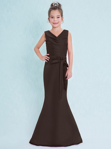 Mermaid / Trumpet V Neck Floor Length Satin Junior Bridesmaid Dress With Criss Cross / Natural_25