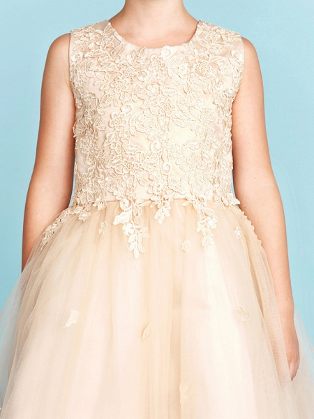 Princess / A-Line Jewel Neck Knee Length Lace / Tulle Junior Bridesmaid Dress With Bow(S) / Appliques / Wedding Party_8