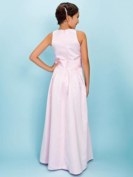A-Line Jewel Neck Floor Length Satin Junior Bridesmaid Dress With Sash / Ribbon / Draping / Flower / Spring / Fall / Winter / Apple / Hourglass_4