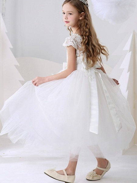 Ball Gown Ankle Length Event / Party / Birthday Flower Girl Dresses - Polyester Short Sleeve Jewel Neck With Bow(S) / Appliques_5