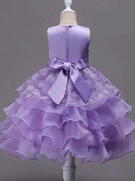 Princess Midi Wedding / Birthday / Pageant Flower Girl Dresses - Organza / Satin Sleeveless Jewel Neck With Bow(S) / Embroidery / Crystals / Rhinestones_6