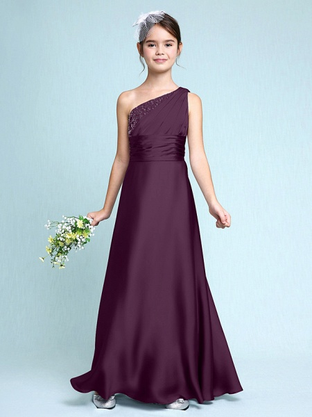 Sheath / Column One Shoulder Floor Length Chiffon Satin Junior Bridesmaid Dress With Ruched / Side Draping / Natural_18