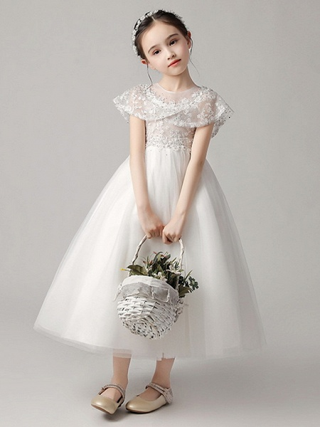 Princess Ankle Length Party / Pageant Flower Girl Dresses - Polyester Short Sleeve Jewel Neck With Lace_1