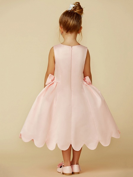 Ball Gown Tea Length Pageant Flower Girl Dresses - Satin Sleeveless Jewel Neck With Bow(S)_2