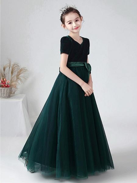 Ball Gown Floor Length Wedding / Party Flower Girl Dresses - Tulle / Velvet Short Sleeve Bateau Neck With Bow(S)_5