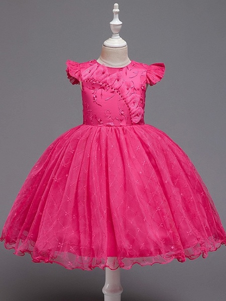 Princess / Ball Gown Knee Length Wedding / Party Flower Girl Dresses - Tulle Cap Sleeve Jewel Neck With Bow(S) / Embroidery_4