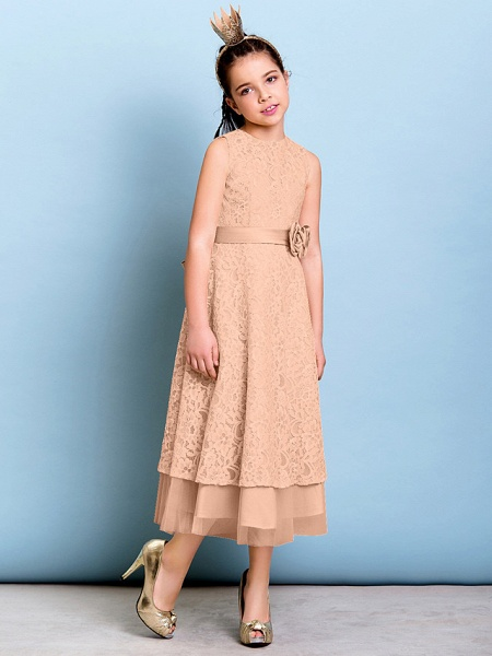 A-Line Jewel Neck Tea Length All Over Floral Lace Junior Bridesmaid Dress With Sash / Ribbon / Bow(S) / Flower / Natural_12