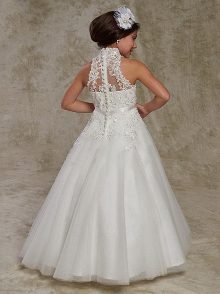 Princess / Ball Gown Floor Length Wedding / Party Flower Girl Dresses - Lace Sleeveless High Neck With Beading / Appliques_2