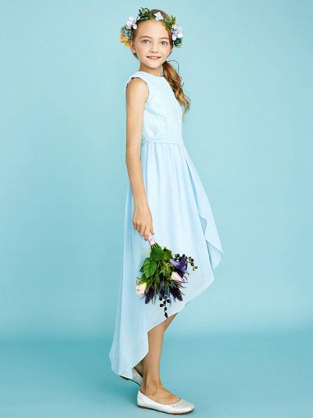 Sheath / Column Jewel Neck Asymmetrical Chiffon / Lace Junior Bridesmaid Dress With Pleats / Natural_3