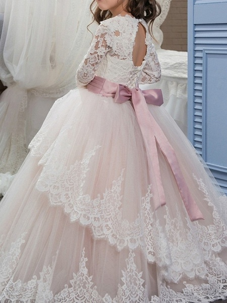 Ball Gown Floor Length Pageant Flower Girl Dresses - Polyester Long Sleeve Jewel Neck With Lace / Tier_2