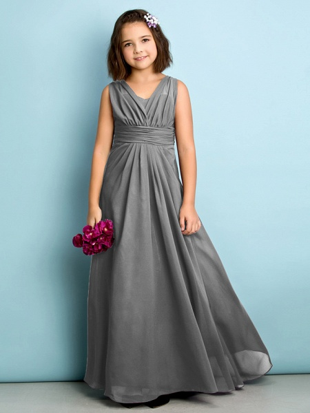 A-Line V Neck Floor Length Chiffon Junior Bridesmaid Dress With Criss Cross / Natural / Mini Me_24
