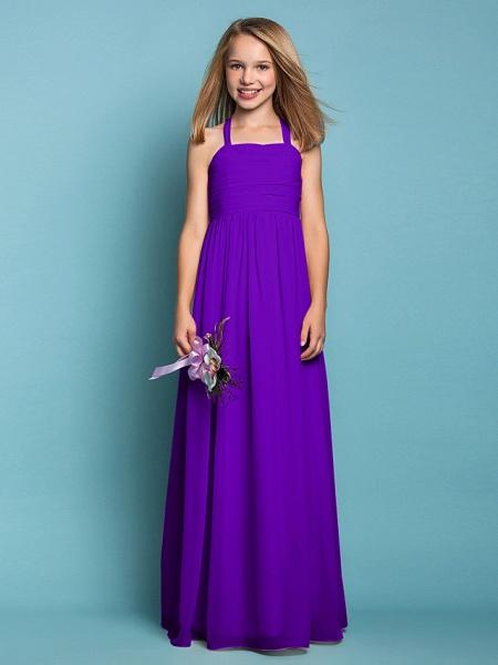 Sheath / Column Halter Neck Floor Length Chiffon Junior Bridesmaid Dress With Ruched / Spring / Summer / Fall / Apple / Hourglass_37