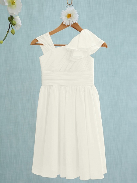 Sheath / Column Straps Knee Length Chiffon Junior Bridesmaid Dress With Ruffles / Side Draping / Natural_19