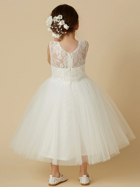 Princess Tea Length Wedding / First Communion Flower Girl Dresses - Lace / Tulle Sleeveless Jewel Neck With Lace_2
