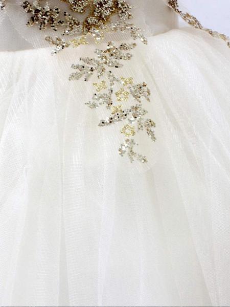Princess Sweep / Brush Train Wedding / Birthday / Pageant Flower Girl Dresses - Tulle Sleeveless High Neck With Crystals / Rhinestones_4