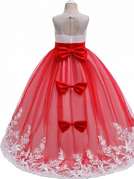 Princess / Ball Gown Court Train Wedding / Party Flower Girl Dresses - Tulle Sleeveless Jewel Neck With Bow(S) / Beading / Appliques_5