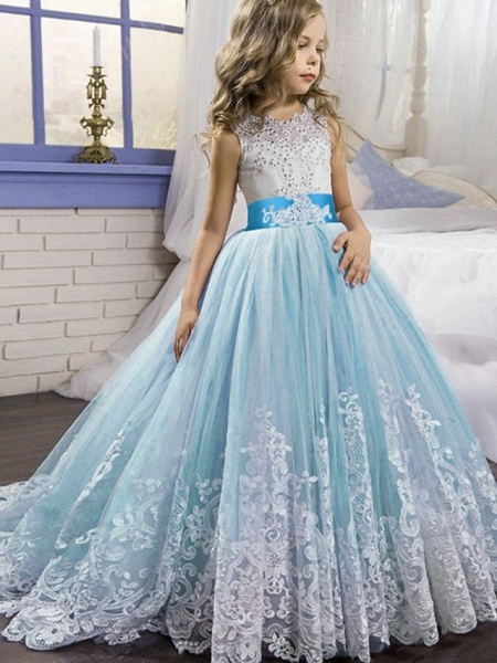 Princess / Ball Gown Court Train Wedding / Party Flower Girl Dresses - Tulle Sleeveless Jewel Neck With Bow(S) / Beading / Appliques_1