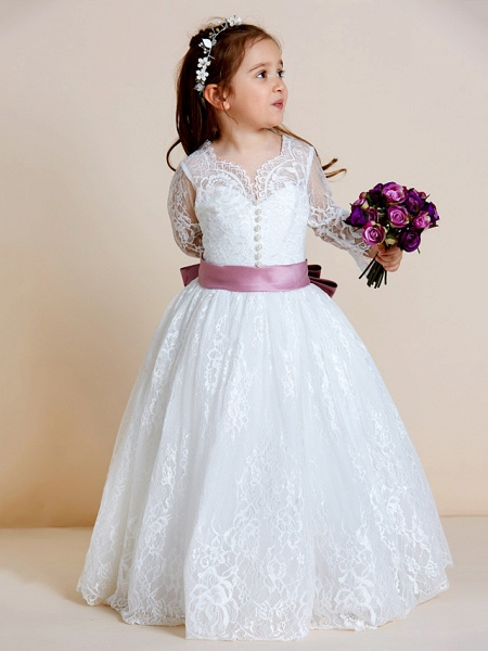 Ball Gown Floor Length Wedding / First Communion Flower Girl Dresses - Lace / Tulle Long Sleeve V Neck With Lace / Sash / Ribbon / Bow(S)_8
