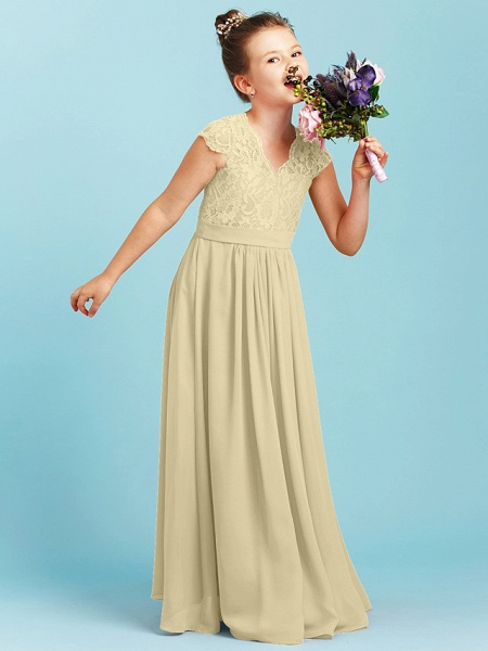 Princess / A-Line V Neck Floor Length Chiffon / Lace Junior Bridesmaid Dress With Sash / Ribbon / Pleats / Wedding Party_13