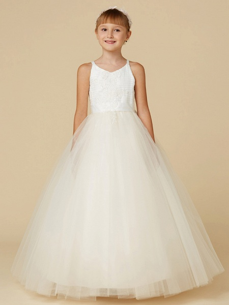 Princess Floor Length Wedding / First Communion / Pageant Flower Girl Dresses - Lace / Tulle Sleeveless Spaghetti Strap With Bow(S) / Appliques_1