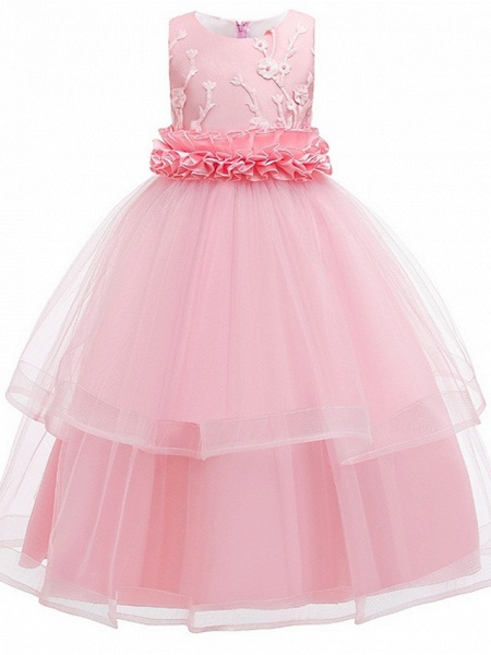 Princess Round Floor Length Cotton Junior Bridesmaid Dress With Bow(S) / Appliques_4
