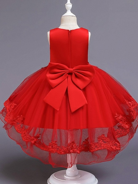 Princess / Ball Gown Knee Length Wedding / Party Flower Girl Dresses - Tulle Sleeveless Jewel Neck With Bow(S) / Appliques_7