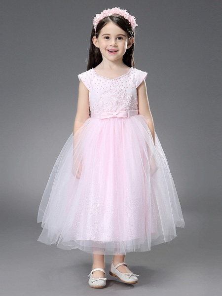 Princess / Ball Gown Ankle Length / Royal Length Train Wedding / Event / Party Flower Girl Dresses - Satin / Tulle Sleeveless Square Neck With Beading / Ruffles / Appliques_3