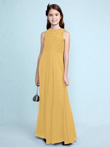 Sheath / Column Scoop Neck Floor Length Chiffon / Lace Junior Bridesmaid Dress With Lace / Natural_25