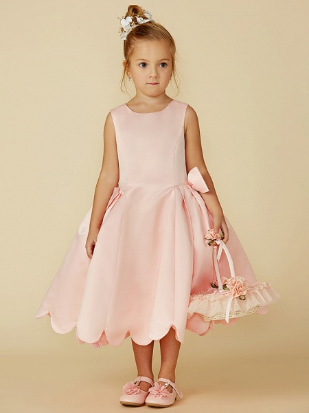 Ball Gown Tea Length Pageant Flower Girl Dresses - Satin Sleeveless Jewel Neck With Bow(S)_3