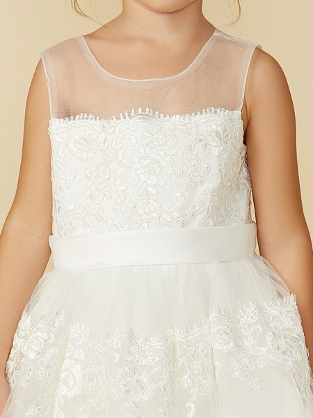 A-Line Tea Length Wedding / First Communion Flower Girl Dresses - Lace Sleeveless Jewel Neck With Lace / Sash / Ribbon_10