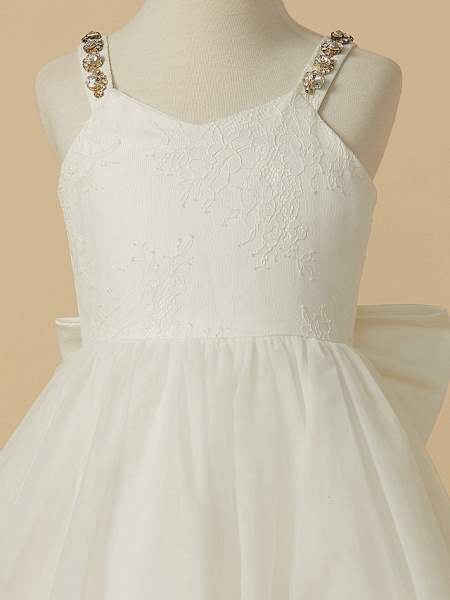 A-Line Ankle Length Wedding / First Communion Flower Girl Dresses - Lace / Tulle Sleeveless Straps With Bow(S) / Beading_3