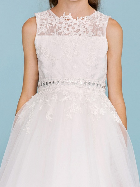 Ball Gown Crew Neck Ankle Length Lace / Tulle Junior Bridesmaid Dress With Sash / Ribbon / Beading / Appliques / Wedding Party_7