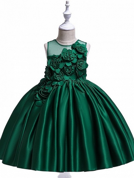 Princess / Ball Gown Knee Length Wedding / Party Flower Girl Dresses - Tulle Sleeveless Jewel Neck With Bow(S) / Pleats / Flower_9