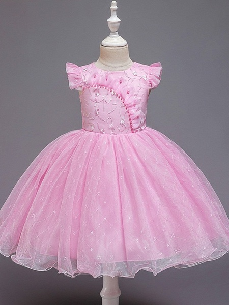 Princess / Ball Gown Knee Length Wedding / Party Flower Girl Dresses - Tulle Cap Sleeve Jewel Neck With Bow(S) / Embroidery_7