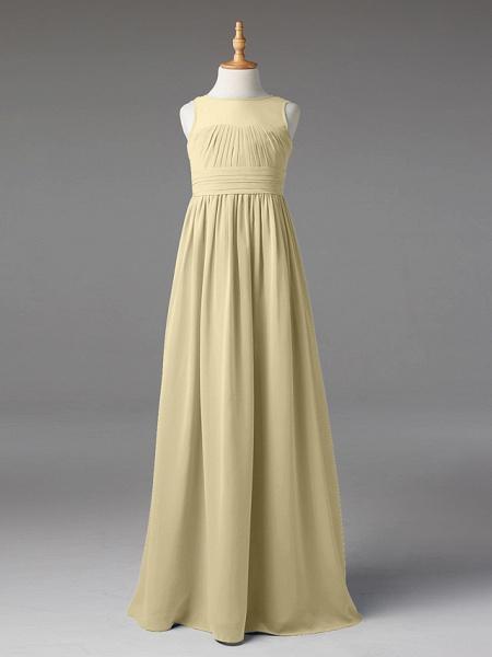 Princess / A-Line Jewel Neck Floor Length Chiffon Junior Bridesmaid Dress With Sash / Ribbon / Pleats_11