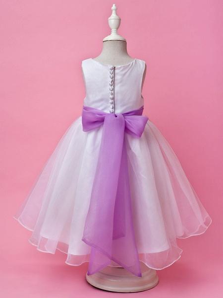 Princess / A-Line Floor Length Wedding Party Organza / Satin Sleeveless Jewel Neck With Sash / Ribbon / Buttons / Draping / Spring / Fall / Winter_3