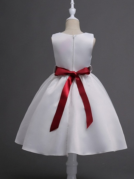 Princess / Ball Gown Knee Length Wedding / Party Flower Girl Dresses - Satin Sleeveless Jewel Neck With Sash / Ribbon / Bow(S) / Flower_5