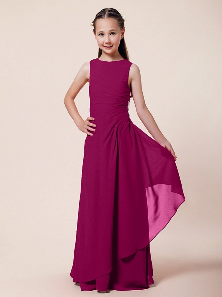 A-Line / Sheath / Column Bateau Neck Floor Length Chiffon Junior Bridesmaid Dress With Beading / Side Draping / Spring / Summer / Fall / Winter / Wedding Party_37