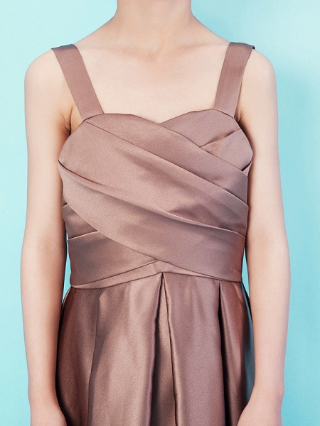 Princess / A-Line Straps / Sweetheart Neckline Tea Length Satin Junior Bridesmaid Dress With Criss Cross / Draping / Spring / Summer / Fall / Apple / Hourglass_5