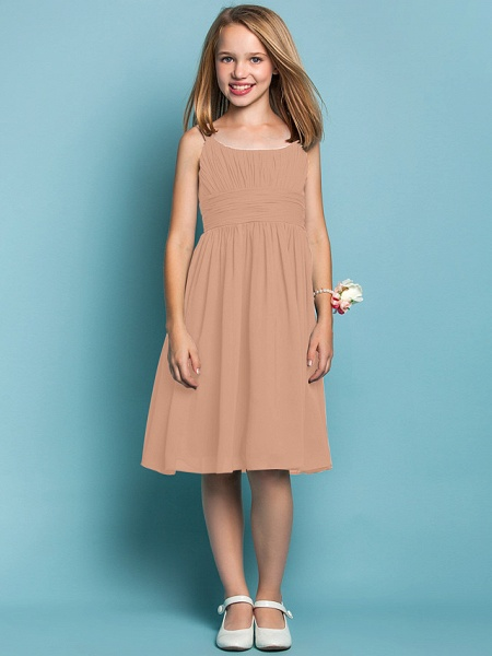 Sheath / Column Straps Knee Length Chiffon Junior Bridesmaid Dress With Ruched / Draping / Spring / Summer / Fall / Apple / Hourglass_11