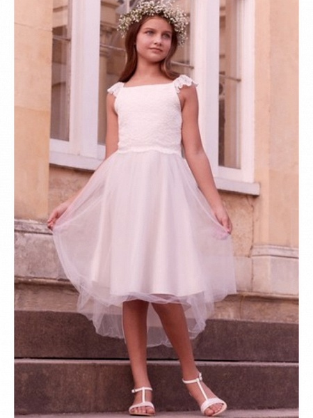 A-Line Asymmetrical First Communion Flower Girl Dresses - Satin / Tulle Sleeveless Jewel Neck With Solid_1