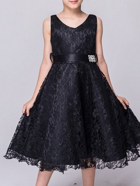 A-Line V Neck Knee Length Lace Junior Bridesmaid Dress With Sash / Ribbon_10