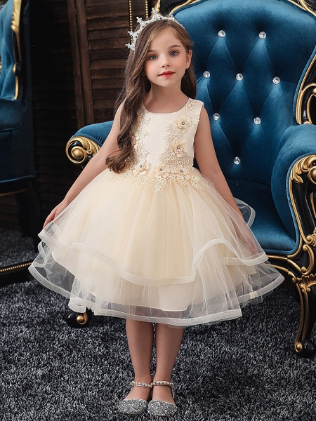 A-Line Knee Length Wedding / Party / Pageant Flower Girl Dresses - Tulle / Matte Satin / Poly&Cotton Blend Sleeveless Jewel Neck With Beading / Solid_1