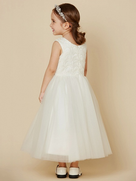 Princess Knee Length Wedding / First Communion Flower Girl Dresses - Lace / Satin / Tulle Sleeveless Jewel Neck With Lace_2