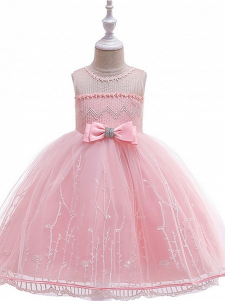 Ball Gown Floor Length Wedding / Party Flower Girl Dresses - Lace / Tulle Sleeveless Jewel Neck With Bow(S) / Embroidery_1