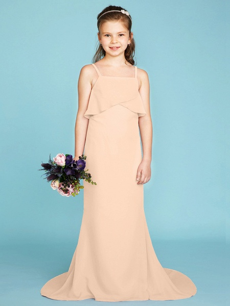 Sheath / Column Spaghetti Strap Sweep / Brush Train Chiffon Junior Bridesmaid Dress With Tiered / Wedding Party / Open Back_15